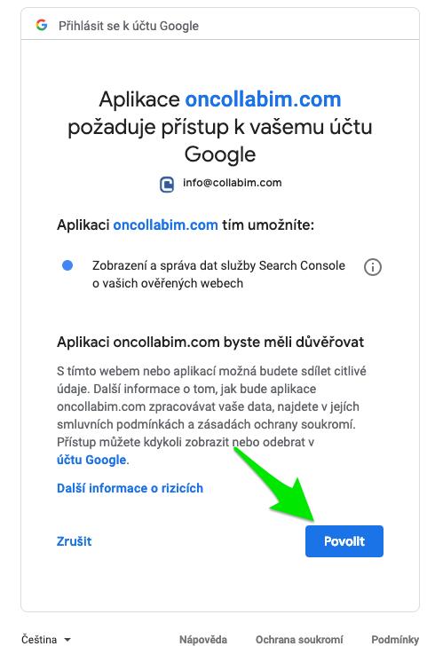 povolení napojení na google search console - krok3